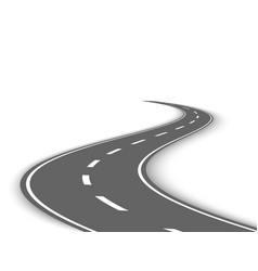 Perspective curved road template vector