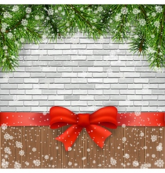 pine branches and bow on a background bricks vector image