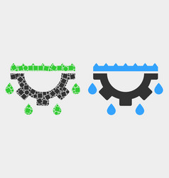Pixelated and flat water gear drops icon vector