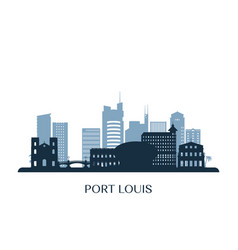 port louis skyline monochrome silhouette vector image