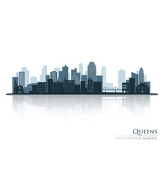 Queens new york blue skyline silhouette vector