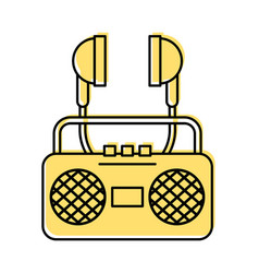 radio music player with earphones vector image