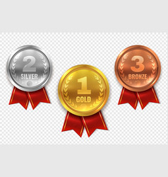 realistic award medals winner medal gold bronze vector image