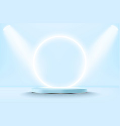 realistic pastel blue 3d display podium mockup vector image