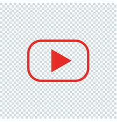 Red button for video player line design vector