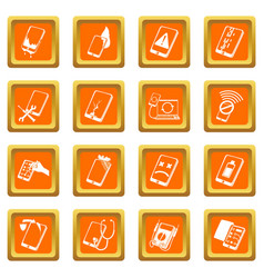 Repair phones fix icons set orange square vector