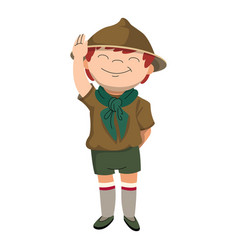Salute scout boy icon cartoon style vector