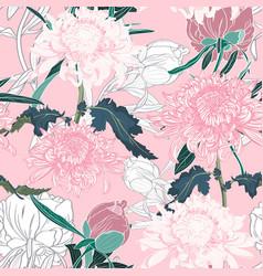 Seamless pattern with japanese chrysanthemum vector