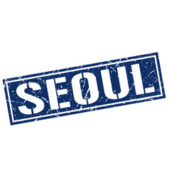 seoul blue square stamp vector image