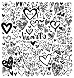 set black hand drawn hearts vector image