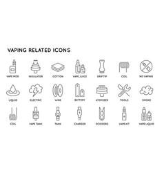 Set minimal vape vaping culture line icons vector