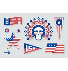 Set of USA symbols and design elements for vector