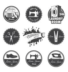 set vintage workshop emblems vector image