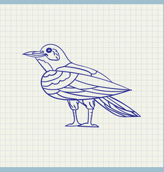 Simple drawing of a crow vector