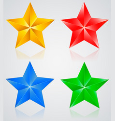 stars colored pentagonal star with shadows vector image