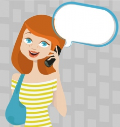 talking girl vector image