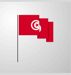 tunisia waving flag creative background vector image