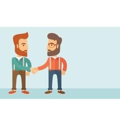Two men handshaking vector
