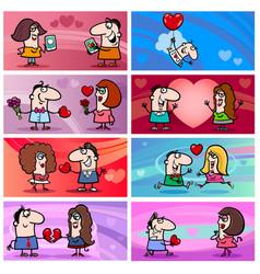 valentine cartoon greeting cards designs vector image