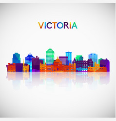Victoria skyline silhouette in colorful geometric vector