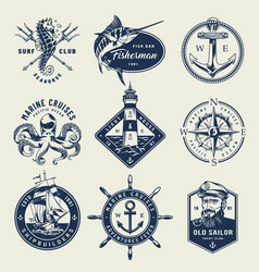 Vintage monochrome nautical logos vector