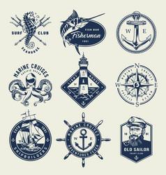 vintage monochrome nautical logos vector image