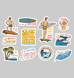 Vintage surfer badges tropical stickers and vector