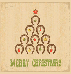 Western christmas greeting card with horseshoe vector