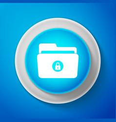 white locked folder icon on blue background vector image