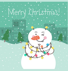 Winter card with cartoon cute snowman vector