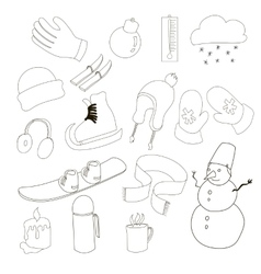Winter icons set outline style vector