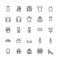 Womenswear and accessories icons vector