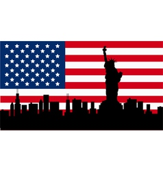 American Design with Statue of Liberty Flag vector image