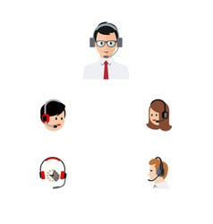 flat hotline set of service headphone vector image vector image