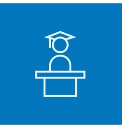 Graduate standing near tribune line icon vector image