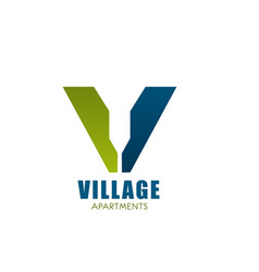 logo for village appartment company vector image vector image