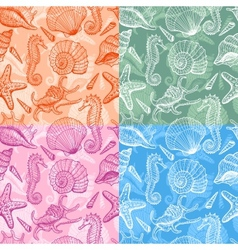 sea shells hand drawn seamless pattern vector image