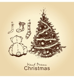 teddy and christmas tree vector image vector image