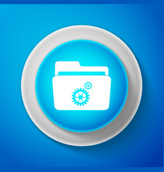 white settings folder with gears icon vector image
