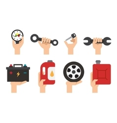Car Maintenance service Automechanic tools and vector image vector image