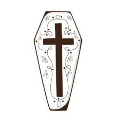 Coffin with cross vector image vector image