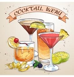 Contemporary Classics Cocktail menu vector image vector image