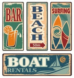 Vintage summer holiday signs vector image vector image