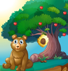 A bear in front of a big apple tree with a beehive vector image vector image
