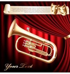 Classical baritone tuba horn vector image