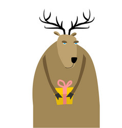 deer christmas reindeer with gift xmas and new vector image vector image