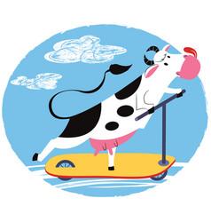 fun cow riding a scooter vector image