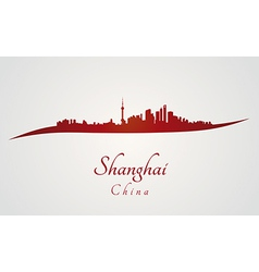 Shanghai skyline in red vector image vector image