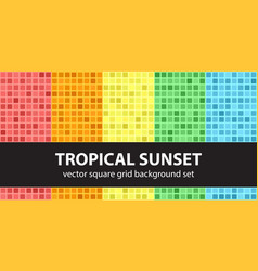 square pattern set tropical sunset seamless tile vector image vector image