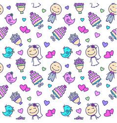 wedding cartoon seamless pattern vector image vector image